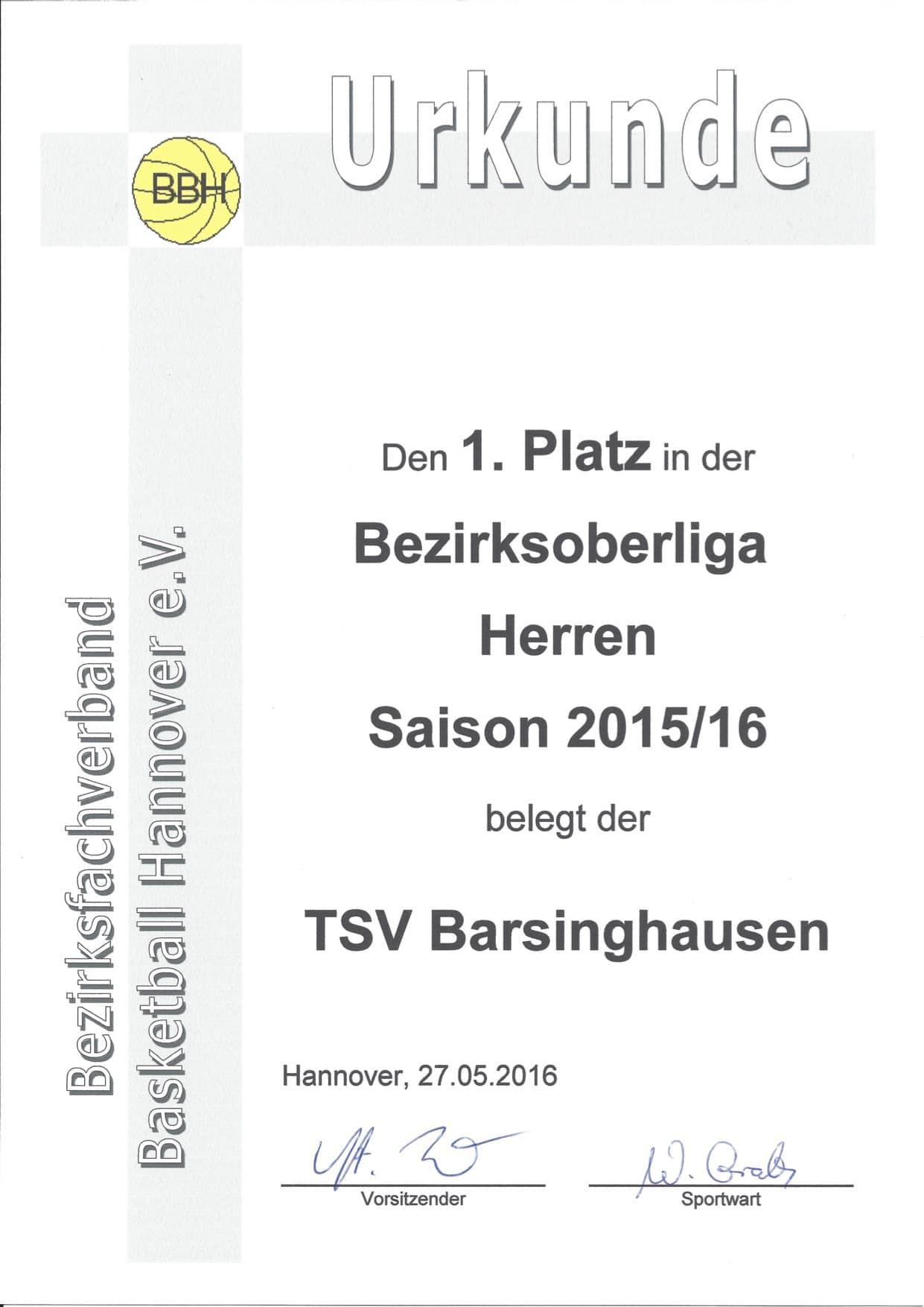 Urkunde BOL Herren 2015-2016